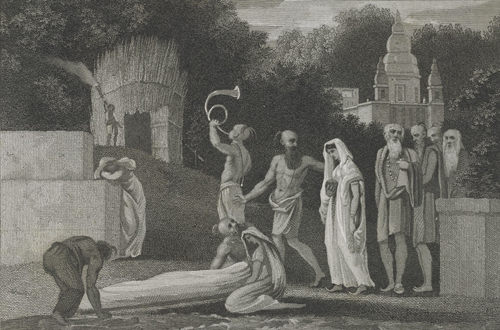 Procession of a Hindoo woman to the funeral pile of her husband